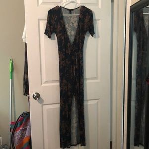 Forever 21 green and rust wrap dress S